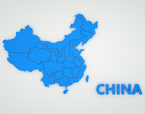 3D model MAP CHINA Country shape with region
