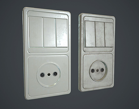 Light Switch With Power Socket PBR Game Ready 3D asset