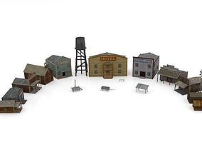 Western building pack 3D asset