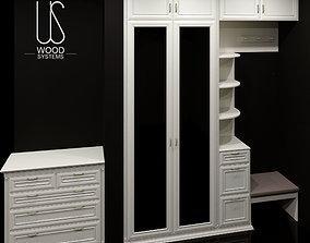 Furniture set wood 3D model