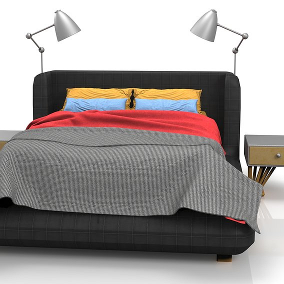 Bed in black quilted leather