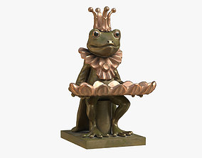 3D asset Frog and Dish Statuette