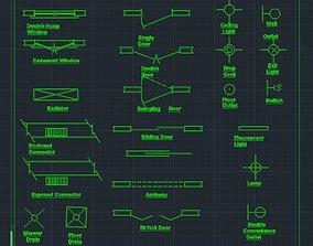 construction drawing symbols 2d 3D asset