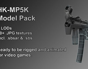 HK MP5K model for video games low-poly