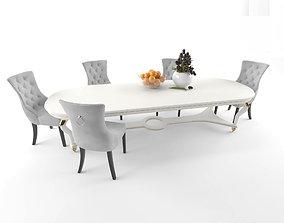 Velvet Dining Chair vs table modern vs flower and 3D asset