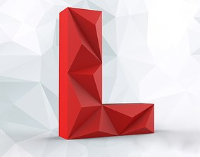 Lowpoly letter L 3D printable model