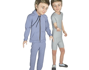 Boy real cloth simulation conversation loop animation 3D