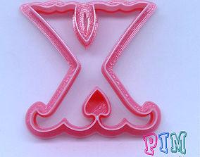 vintage Vintage letter X cookie cutter 3D print model
