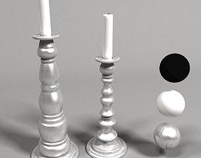 3D Rustic metal candlesticks