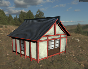 3D asset low-poly Medieval Asian House