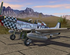 Mustang P-51 D on the runway 3D