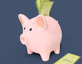 Piggy Bank With Dollar Bills 3D model