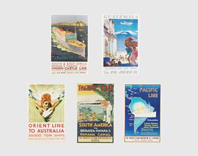 Retro Travel Posters 2 3D model