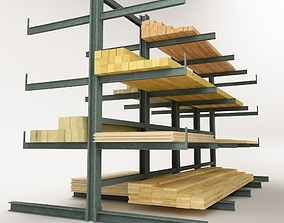 Steel Rack Storage System 01 3D asset