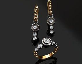 3D printable model Ring and Earrings diamond-ring