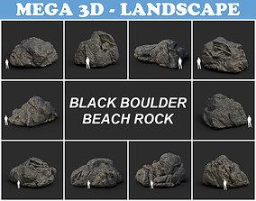 Black Boulder Beach Rock Collection 210731 3D asset