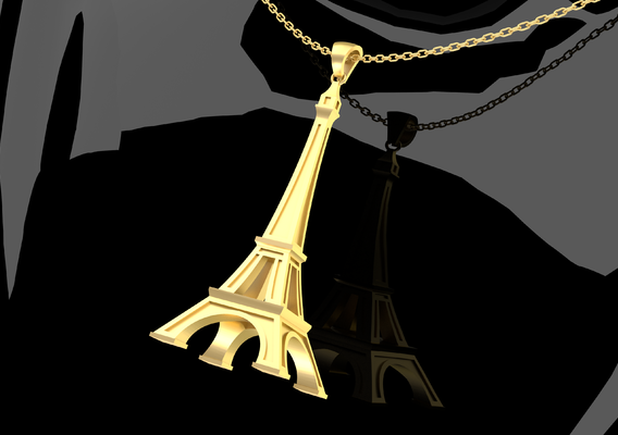 Eiffel Tower Pendant jewelry Gold 3D print model