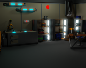 Sci - Fi 3D low poly models animated low-poly