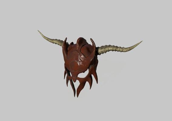low poly barbarian helmet