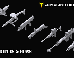 3D model Gundam Zeon Rifles and Guns