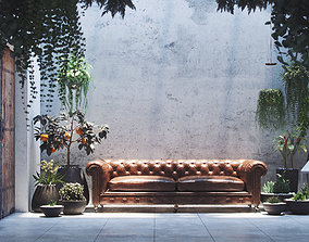 Realistic Courtyard Interior Scene with plants in 3D model