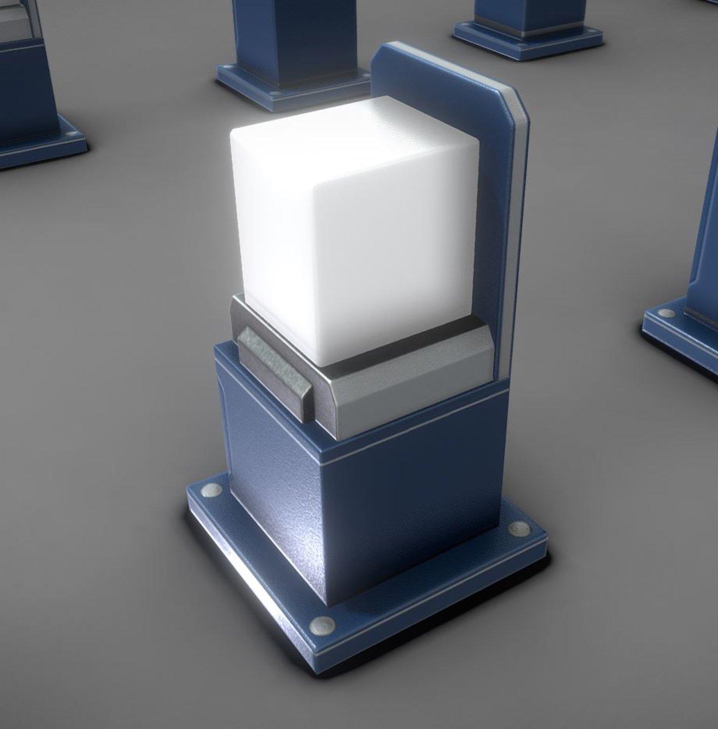 Street Light 8 Bollard Futuristic Blue Version