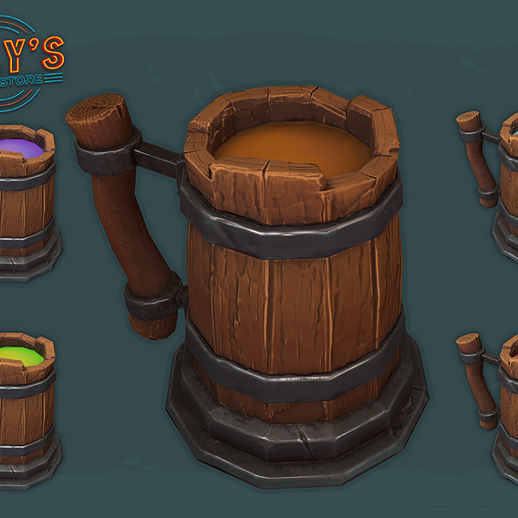Beer Mugs - Stylized- Low Poly