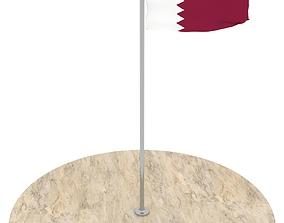 Qatar Flag 3D asset