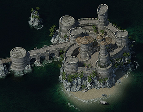 3D asset VR / AR ready house Medieval Castle