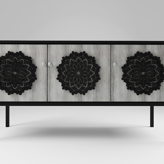 Sideboard in black metal with three wood decorated doors