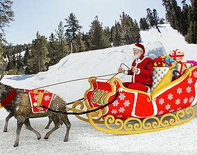 Santa Claus rides reindeer sleigh 3D model