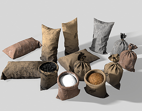 3D asset Sacks of flour coal cereal pack PBR Game ready
