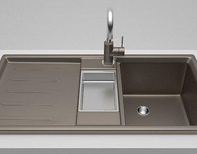 Modern Kitchen Sink with tap 3D model
