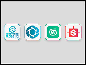 3D Software Icon Collection PSD ICO PNG VR / AR ready