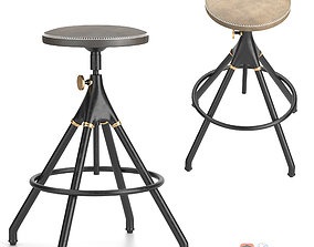 District Eight-Akron Counter Stool With Leather Seat 3D