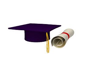 3D model Graduation Cap and Diploma
