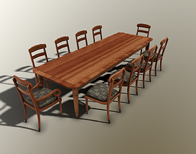 3D model 19th century Victorian Dining Table and Chairs