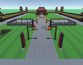 3D model 9t5 Low Poly Shaolin Monk Temple