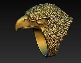 3D printable model biker eagle ring