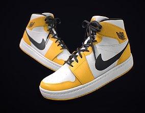 Sneaker Nike Air Jordan White Yellow Black 3D asset