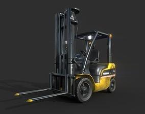 3D asset Forklift low poly game model