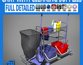 Cart with Cleaning Supplies 3D model