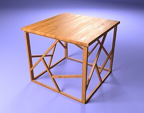 Wooden table furniture wired 3D