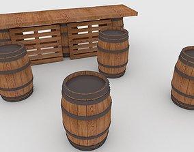 3D model Palette Bar with Barrels low-poly
