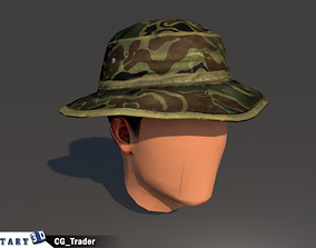 lowpoly military soldier hat 3d model realtime