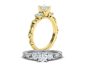 Art nouveau Engagement ring three stone design 3d model