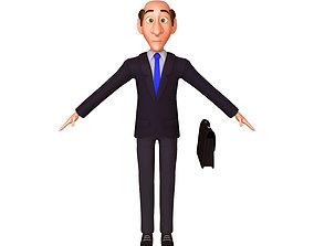 3D model Business Man Cartoon