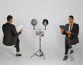 3D model Businessman in suit reading documents 225