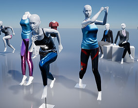 3D asset Female Mannequins with various clothing
