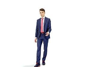 Elegant Man with Blue Suit Walking 3D model